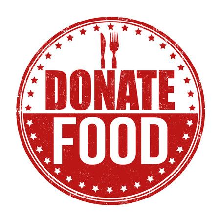 Donate food grunge rubber stamp on white background, vector illustration Vector