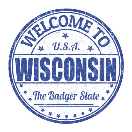 wisconsin: Welcome to Wisconsin grunge rubber stamp on white background, vector illustration