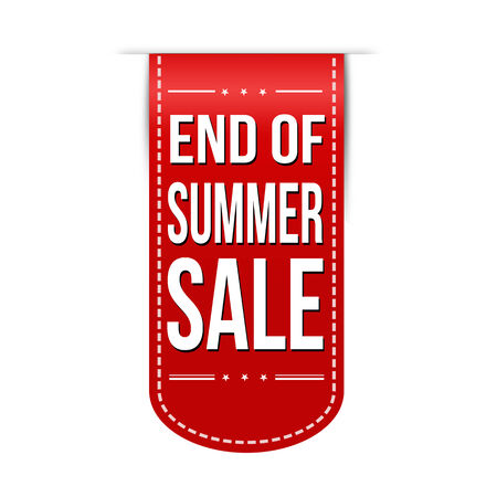 end of summer: End of summer sale banner design over a white background, vector illustration
