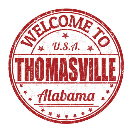 visit us: Welcome to Thomasville grunge rubber stamp on white background, vector illustration