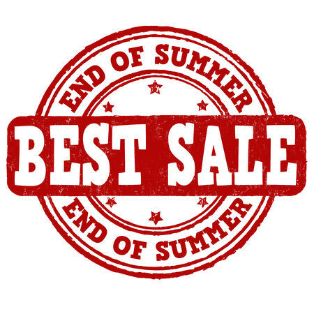end of summer: End of summer sale grunge rubber stamp on white background, vector illustration