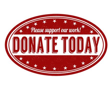 Spenden Sie heute Grunge Stempel auf weißem Hintergrund, Vektor-Illustration Standard-Bild - 30818328