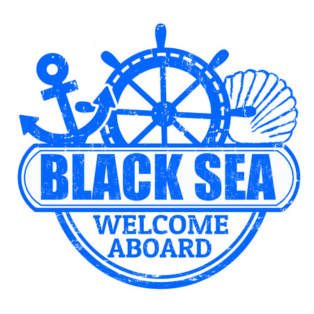 aboard: Grunge rubber stamp with the text Black Sea, welcome aboard written inside, vector illustration