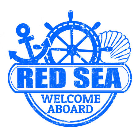 aboard: Grunge rubber stamp with the text Red Sea, welcome aboard written inside, vector illustration
