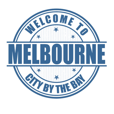 australia stamp: Welcome to Melbourne, City by the bay grunge rubber stamp on white, vector illustration