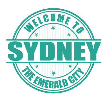 sydney: Welcome to Sydney, The emerald city grunge rubber stamp on white, vector illustration Illustration
