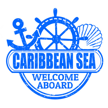 sea mark: Grunge rubber stamp with the text Caribbean Sea, welcome aboard written inside, vector illustration
