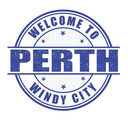 windy city: Bienvenido a Perth, ciudad ventosa grunge sello de goma en blanco, ilustraci�n vectorial
