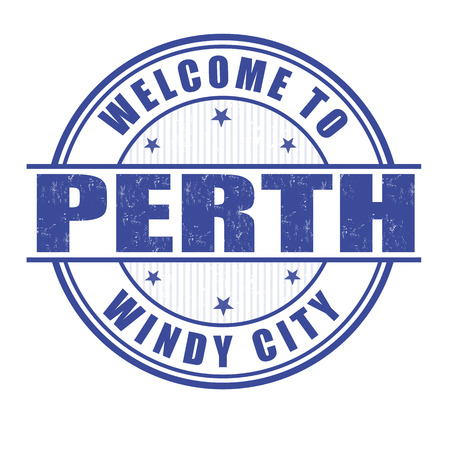Welcome to Perth, Windy city grunge rubber stamp on white, vector illustration Vector