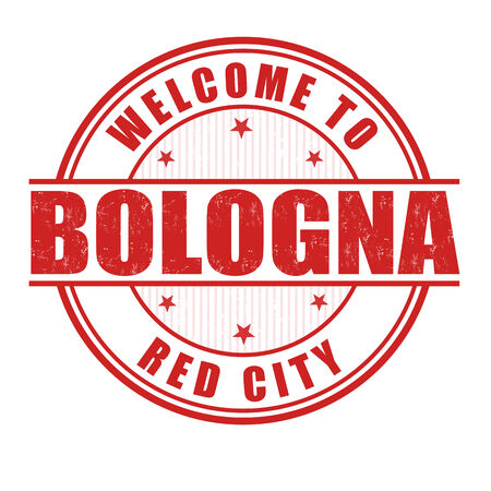 bologna: Welcome to Bologna, Red city grunge rubber stamp on white, vector illustration Illustration