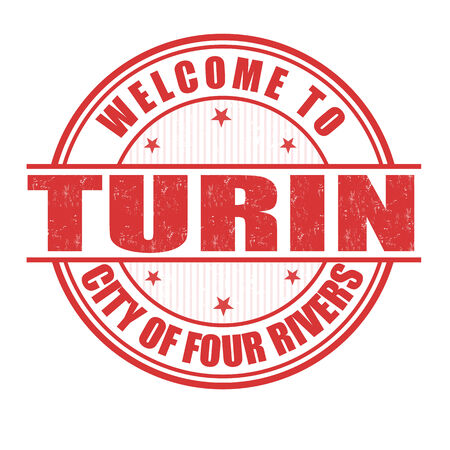 turin: Welcome to Turin, City of four rivers grunge rubber stamp on white, vector illustration