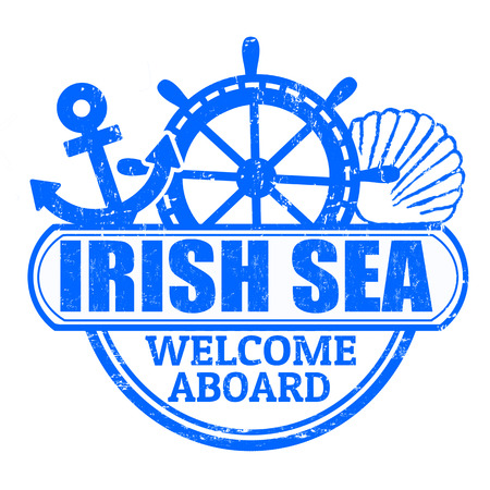 aboard: Grunge rubber stamp with the text Irish Sea, welcome aboard written inside, vector illustration