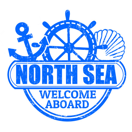 aboard: Grunge rubber stamp with the text North Sea, welcome aboard written inside, vector illustration