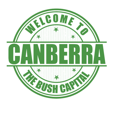 australia stamp: Welcome to Canberra, The bush capital grunge rubber stamp on white, vector illustration