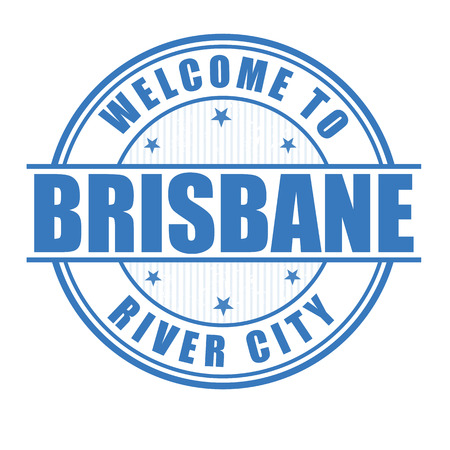 australia stamp: Welcome to Brisbane, River city grunge rubber stamp on white, vector illustration Illustration