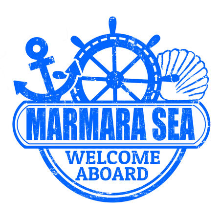 marmara: Grunge rubber stamp with the text Marmara Sea, welcome aboard written inside, vector illustration