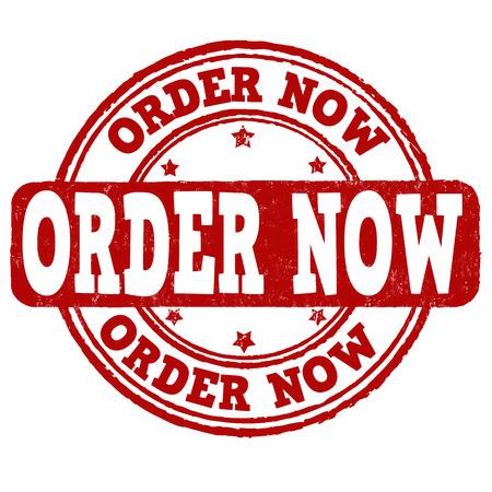 order now: Order now grunge rubber stamp on white, vector illustration