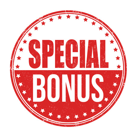 discounting: Special bonus grunge rubber stamp on white, vector illustration