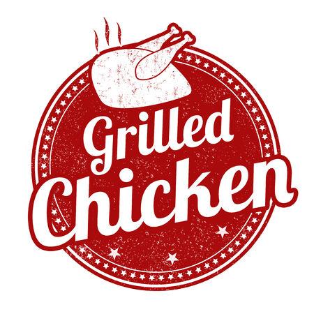 pollo rostizado: Pollo a la parrilla grunge sello de goma en el fondo blanco, ilustración vectorial