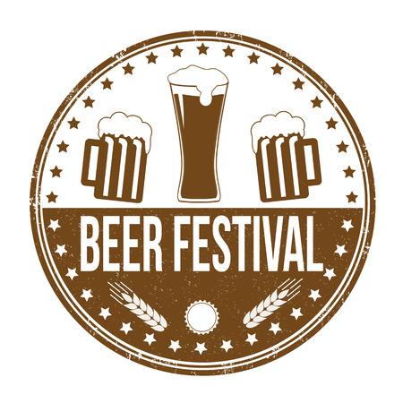 beer background: Beer festival grunge rubber stamp on white background, vector illustration