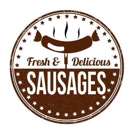 Sausages grunge rubber stamp on white background, vector illustration Vector