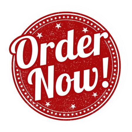 orden de compra: Ordena grunge sello de goma en blanco, ilustración vectorial