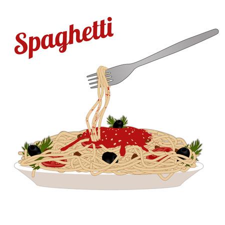 italian pasta: Los espaguetis de pasta italiana en el plato blanco con un tenedor en el fondo blanco, ilustraci�n vectorial