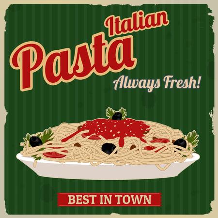 gourmet dinner: Italian pasta. Spaghetti with sauce poster in vintage style, vector illustration