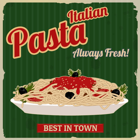 Italian pasta. Spaghetti with sauce poster in vintage style, vector illustration