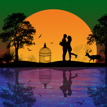 Deer and lovers at sunset near water on beautiful landscape, vector illustration Vector