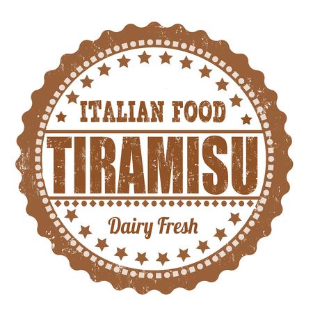 homemade cake: Tiramisu grunge rubber stamp on white, vector illustration