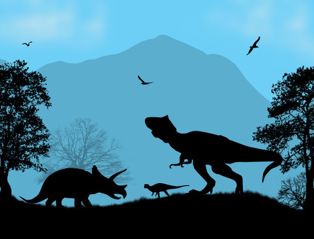 period: Dinosaurs Silhouettes - Tyrannosaurus T-Rex and Triceratops, in beautiful place , vector illustration