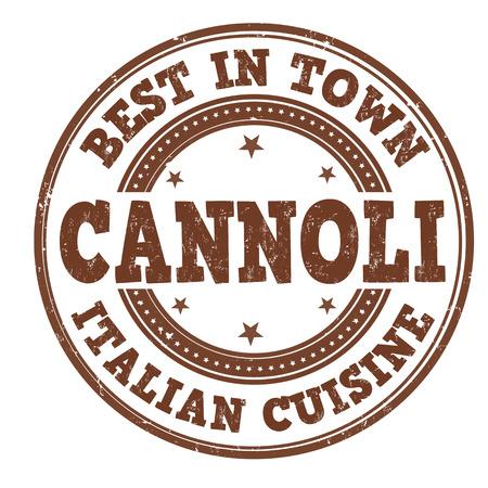 stiker: Cannoli grunge rubber stamp on white, vector illustration Illustration