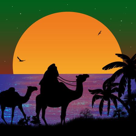 convoy: Camel caravan at sunset on the beach, vector illustration