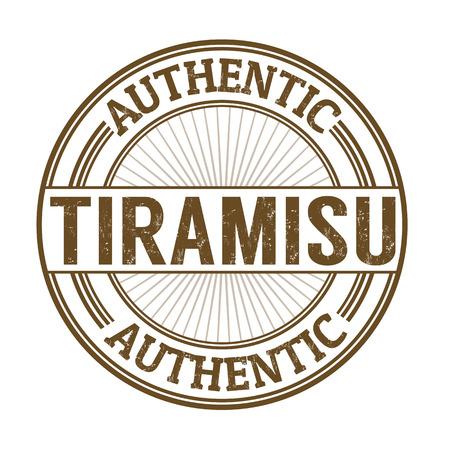 stiker: Tiramisu grunge rubber stamp on white, vector illustration