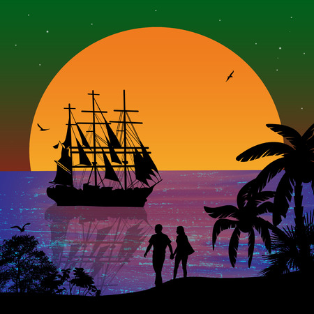 Sea sunset with boat and couple silhouettes on beautiful place, vector illustration Vector