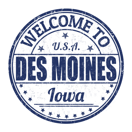 Welcome to Des Moines grunge rubber stamp on white background Vector