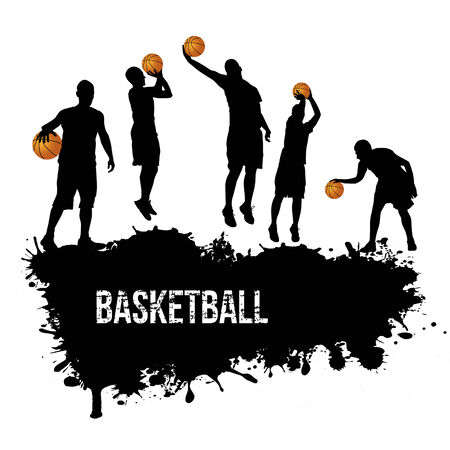 Grunge basketball poster with players silhouette Illustration
