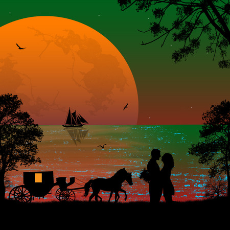 Carriage and lovers at sunset on the beach Vector