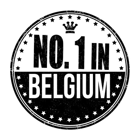 Number one in Belgium grunge rubber stamp on white background Vector