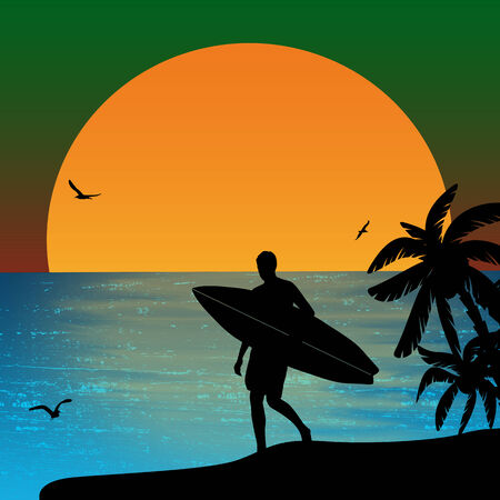 surfer silhouette: Surfer silhouette on tropical sunset
