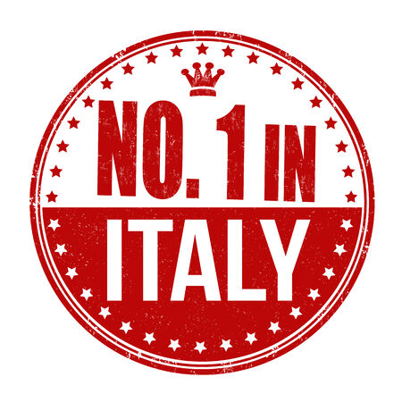 Number one in Italy grunge rubber stamp on white background Vector
