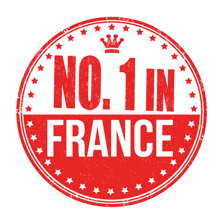 Number one in France grunge rubber stamp on white background Vector