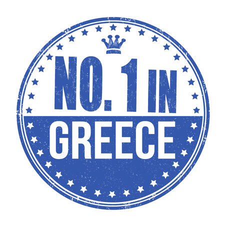 made in greece stamp: Number one in Greece grunge rubber stamp on white background