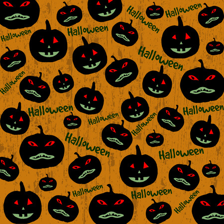 Seamless Halloween background with the pumpkins on orange Vector
