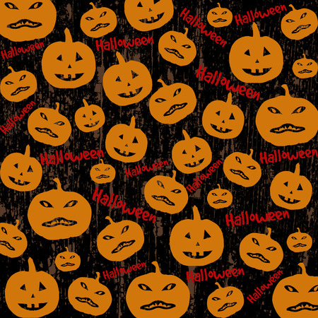 Seamless Halloween background with the pumpkins on black Vector