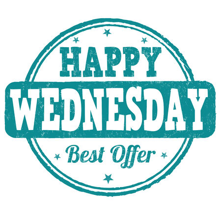 Happy wednesday grunge rubber stamp on white, vector illustration Vector