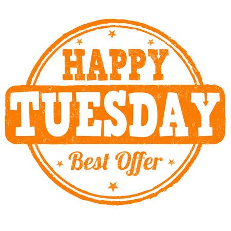 Happy tuesday grunge rubber stamp on white, vector illustration Vector