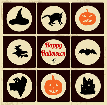 witch silhouette: Set of Halloween icons - Retro Signs on vintage poster