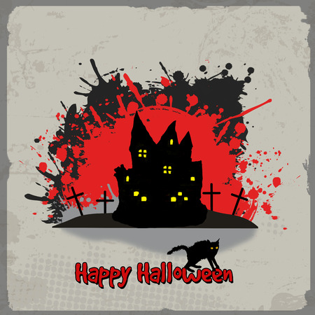 house cat: Holloween vintage grunge poster with haunted house and splash Illustration